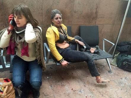 Photograph of injured Jet Airways flight attendant Nidhi Chaphekar quickly became a defining image of the Brussels attack.(Ketevan Kardava/ Georgian Public Broadcaster via AP)