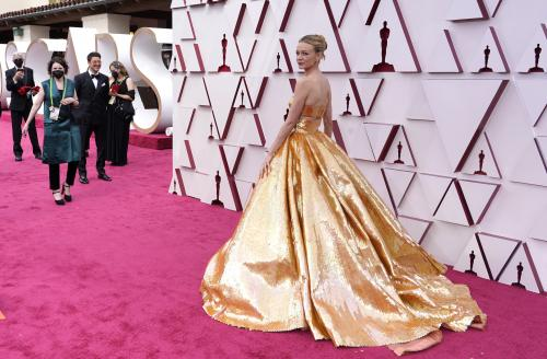Carey Mulligan arrives at the Oscars, April 25, 2021, at Union Station in Los Angeles. (AP Photo/Chris Pizzello, Pool)