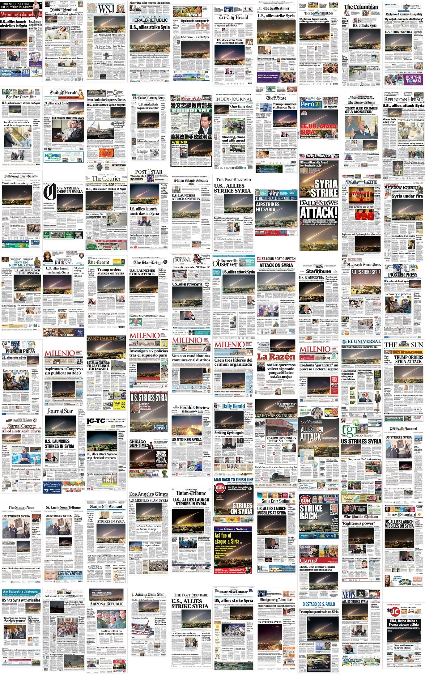 AP Syria missile photos dominate front pages