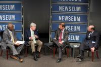 Left to right: Newseum discussion moderator Frank Bond, Neil Sheehan, George Packer and Thomas Herman. (Maria Bryk/Newseum)