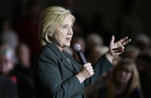 Democratic presidential candidate Hillary Clinton speaks during a town hall meeting Sunday, Nov. 22, 2015, in Clinton, Iowa. (AP Photo/Charlie Neibergall)