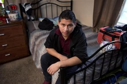 The plight of Marvin Velasco, 15, from Guatemala, is among those described in an AP investigation on the treatment of migrant children. (AP Photo/Mark J. Terrill)